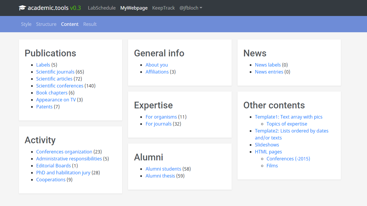 Content Management System of my academic website